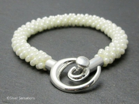 Pearly White Beaded & Woven Kumihimo Bracelet